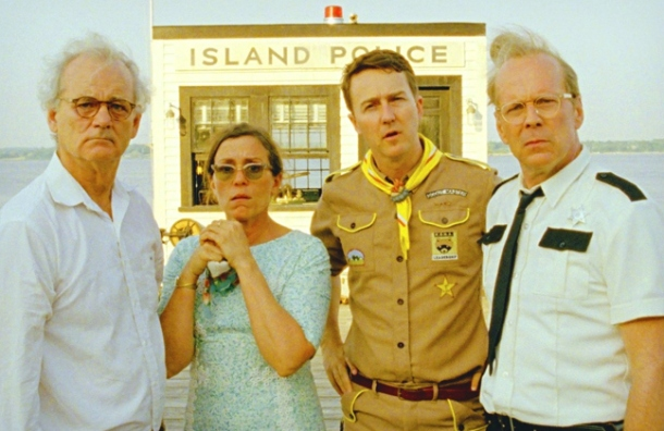 Bill Murray, Frances McDormand, Edward Norton and Bruce Willis  (from left to right) star as adults.