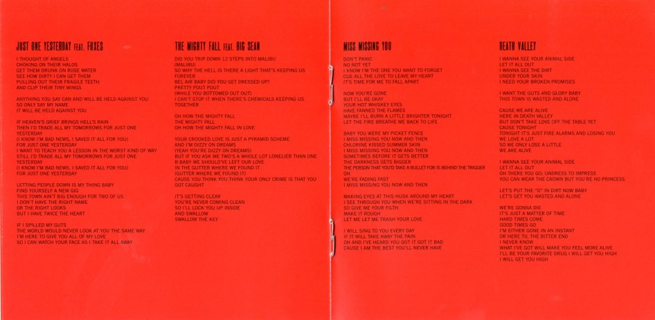 Lyrics: Just One Yesterday, The Mighty Fall, Miss Missing You, Death Valley