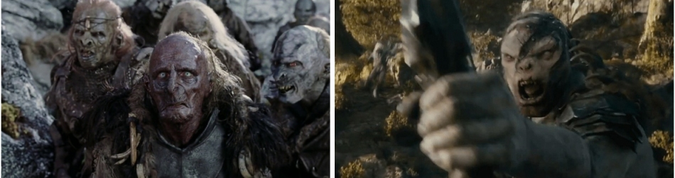 peter jackson orcs with and without CG