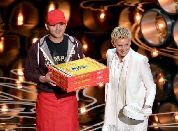 ellen pizza oscars 2014