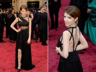 Anna Kendrick likes to keep it spunky, but the red mid- bodice inset, shifty back and too- high slit made this gown a little too spunky. Designer: J.Mendel