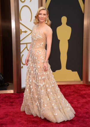 Cate Blanchett's dress looked good from far away, but up close the sequins looked a little sloppy. The light color washed her out a bit as well. Designer: Giorgio Armani Prive