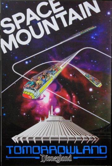 Tomorrowland Space Mountain Vintage Disneyland Poster