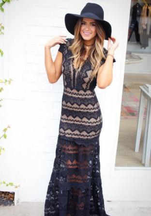 JoJo rocks boho lace again in this Nightcap x Carisa Rene Antionette Dress