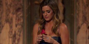 JoJo contemplates the final rose in a blue Randi Rham gown