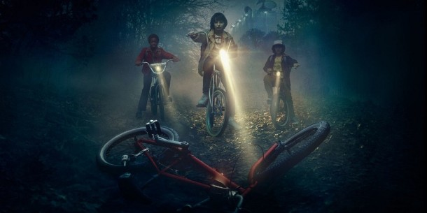 Caleb-McLaughlin-Finn-Wolfhard-and-Gaten-Matarazzo-in-Stranger-Things Bikes Boys on Bikes