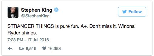 steven king stranger things tweet