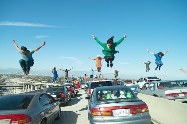 LA La Land opening scene traffic cars