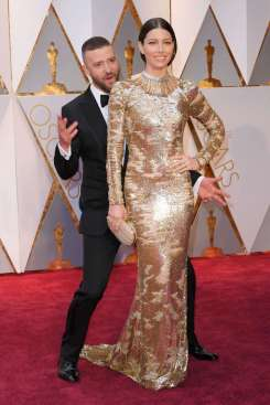 Jessica Biel can't stop the feeling of a crazy boy bander dancing behind her. Although Biel's makeup couldn't stand up to this dress, the dress looked far less stupid on TV. Dress by Kaufman Franco.