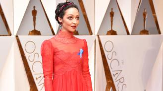 Best Actress nom Ruth Negga looked like a scary Victorian doll in this gunnysack inspired Valentino
