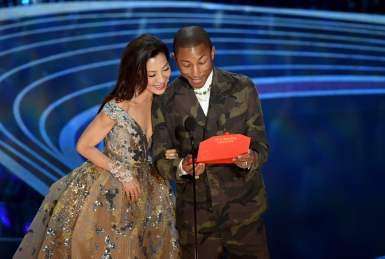 Michelle Yeoh wears Elie Saab to present with Pharrell Williams