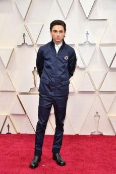 Timothée Chalamet wearing his red carpet interpretation of Ford v. Ferrari
